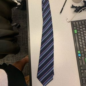 Venezia Mens Blue And Pink Stripped Tie